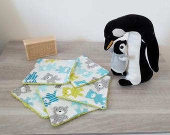 Set of 5 wipes washable patterns Teddy / teddy bears