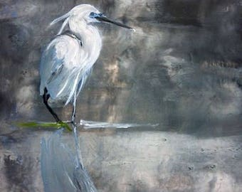 beautiful Egret, acrylic and oil on canvas