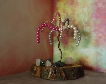 Centre de table - objet de décoration  sur tranche de bois d' acacias