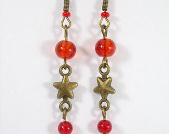 Bronze earrings for cracked glass beads red-orange star connector