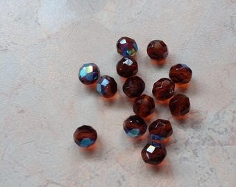 Brown, round faceted acrylic beads with iridescent 6mm