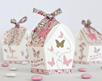 """Box dragees birdhouse """"butterfly and liberty Eloise pink"""""""