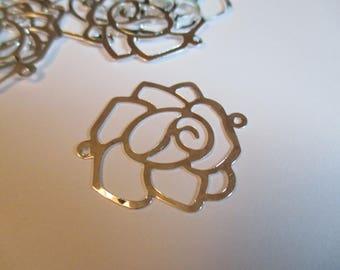 Pretty pink ♥ ♥ connector filigree silver metal