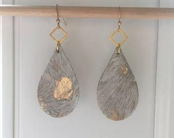 Hair on LEATHER teardrop earrings lightweight earrings metallic leather earrings hair on leather earrings