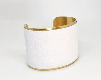 White leather and brass cuff wide leather cuff leather bracelet white leather cuff  bracelet leather brass cuff bracelet