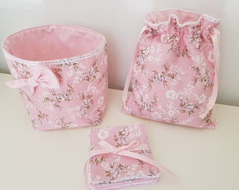 Pouch + pink + 7 wipes washable cotton fabric basket