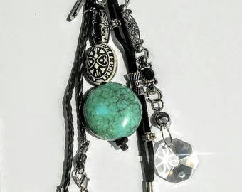 Boho western rearview mirror charm, turquoise rearview mirror charm, hippie mirror charm