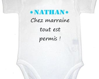 Bodysuit with godmother anything personalised with name