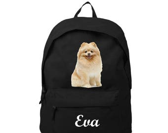 bag has black back Spitz personalized with name