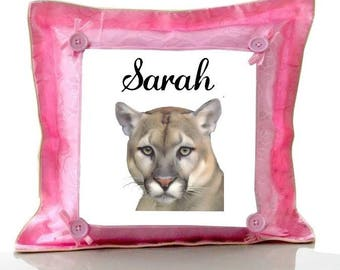 Cushion Pink Cougar personalized with name