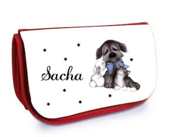 Red case with make-up /crayons dog, cat, rabbit personalized with name