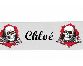 Headbands white girl skull personalized with name