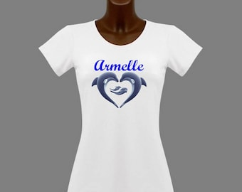 White Dolphin women t-shirt personalized with name