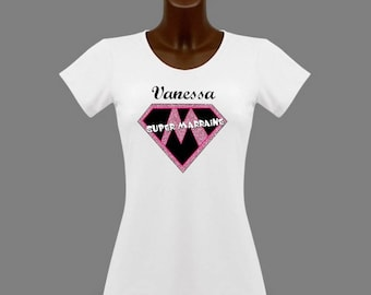 T-shirt women white super godmother personalized with name