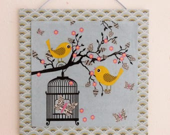 Textile painting and collage, birds on branch