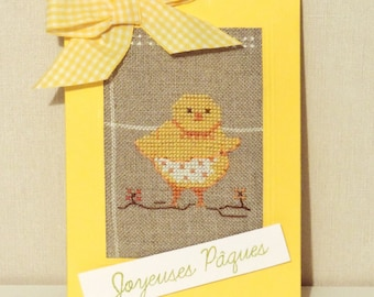 embroidered Easter cross stitch card.