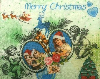 Merry Christmas Angels paper towel