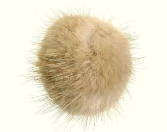 Pompom fur beige 5 cm