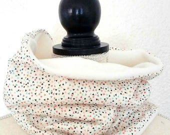 Snood fleece fabric woman beige