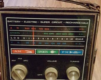 Vintage Captain Radio, vintage transistor radio, vintage portable radio, vintage radio with case, vintage captain transistor radio with case