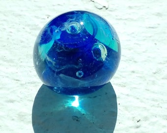 Sphere - green lagoon - blue implosion glass Lampwork