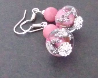 Bubble beads and morganite earrings