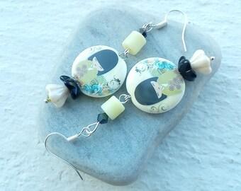 Kokeshi earrings porcelain