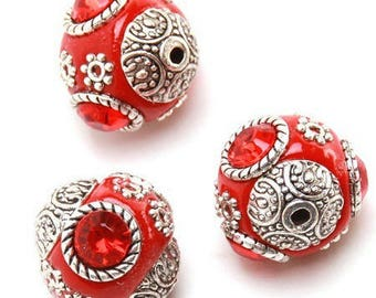 3 acrylic and antique silver metal beads Indonesian style, 15 * 16mm approx.