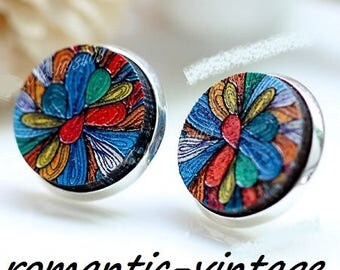 "2 gorgeous wooden painted embossed ""flower psyche"" cabochons 16mm"