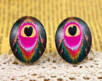 set of 3 beautiful dome glass cabochons 20mm + 12mm Peacock feather