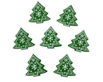 10 buttons 30mm wooden green and white decorated Christmas trees