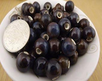 10 pearls Mocha color ceramic ash Blue 6mm