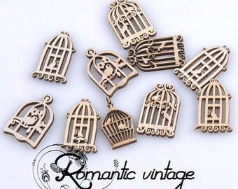 10 beautiful decorations in fine wood blank, vintage bird cage mix theme shapes and sizes 20-30 mm