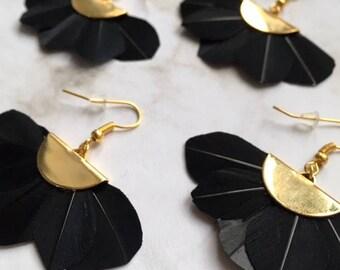 Half moon earrings fringe feathers
