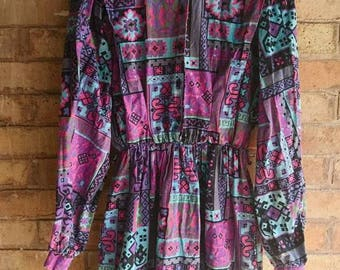 Vintage multicoloured print long sleeve dress