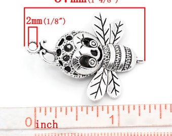 10 PCs large silver bee 37mm