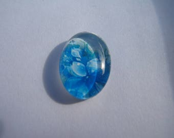 Cabochon 18 X 13 mm oval with flower face image blue