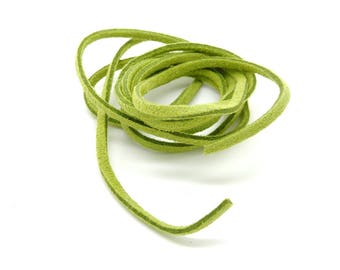 Suede, lace, green almond, 3 mm