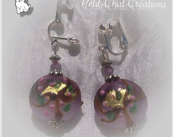 """CLIPS OR CHOOSE PINK CRYSTAL """"CHERRY BLOSSOM"""" LAMPWORK GLASS EARRINGS"""