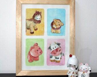 "Watercolor frame, square - ""the little farm"""