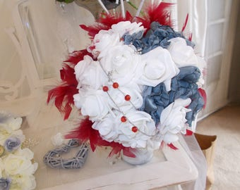 bridal bouquets red gray and white wedding