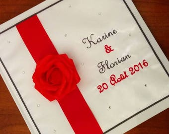Guestbook red and gray with Rhinestones and pink