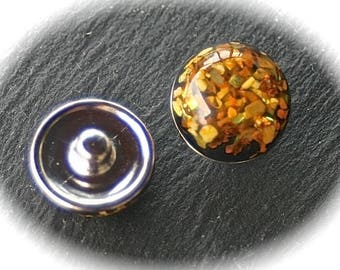 1bouton chunk has silver mother of Pearl geometric design Golden honey 18mm snap
