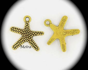 12 charms with effect relief 19x19mm sea stars