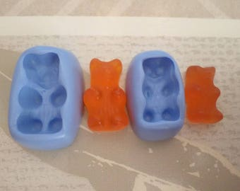 "Flexible silicone mold ""sweet Teddy bear 2.5 cm and 2cm"""