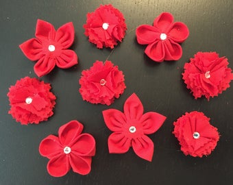 9 flowers kanzashi fabric flower, handmade, flower, to customize your creations, embellishment purse, hairclip, brooch