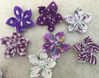 7 flowers kanzashi 35mm, flower, to customize your creations, embellishment purse, hairclip, brooch, scrapbooking, flower jewelry