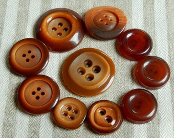 10 different buttons rusty caramel brown hue - buttons cheap super decorative item on