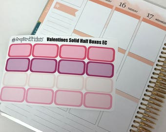 Solid Valentines Day Half Boxes for the Erin Condren Life Planner, Happy Planner and More!