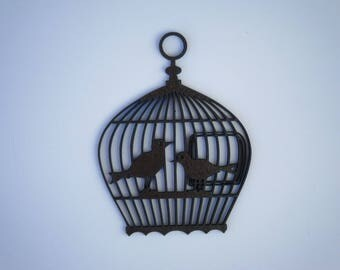 Mini bird cage, silhouette cut wood